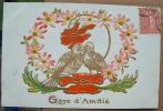 Carte Gauffrée Couple D'oiseaux Se Becotant - Gage D'amitie - Fantasia
