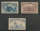 US - 1893 COLUMBIAN EXPOSITION ISSUE - Scott # 230 -231 - 233 UNUSED (No Gum) - Unused Stamps