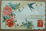 Carte Gauffrée Hirondelle Roses Reçu Votre Carte Mille Fois Merci - Tarjetas De Fantasía
