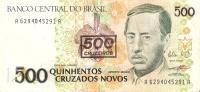 BILLETE DE BRASIL DE 500 CRUZADOS NOVOS RESELLO 500 CRUZEIROS  (BANK NOTE) ORQUIDEA Y COLIBRI - Brasil