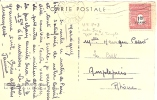 Marcophilie Timbre Seul Yt 708 Type Arc De Triomphe Surcharge 1f50 En 1945 Sur Cpa - Marcophilie (Lettres)