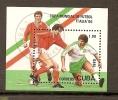 Foot Ball  Bloc Feuillet Oblitéré Ref 5 Cuba  ITALIA 90 - Football
