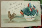 Carte Un Coq Tirant Un Oeuf Avec Des Drapeaux Signé Boipley - Autres