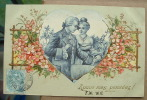 Carte Gauffrée Un Couple Dans Un Coeur - A Vous Mes Pensées - Tarjetas De Fantasía