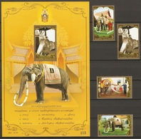 Thailand 2007 MiNr. 2624 - 2627 (Block 217) Elephants 4v + S\sh MNH** 6.50 € - Olifanten