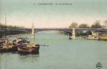 Cpa Courbevoie, Bords De La Seine, Péniches,le Pont Bineau, Colorisée - Courbevoie