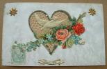 Carte Chromo Une Tourterelle Dans Un Coeur - Bonne Fete - Fantaisies