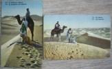 Lot 2x La Priere Au Desert N° 579 794  Lahnert & Landrock Voyagé 1921 Timbre Cachet Amb Asc  Teruel - Cartes Postales