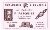 FOUGERES 35  ( HORLOGERIE BIJOUTERIE ) AU CARILLON F PASQUIER 8 RUE DES FEUTERIES  TRES BON ETAT  ! ! ! - Buvards, Protège-cahiers Illustrés
