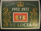 ST. LUCIA  1977    SILVER  JUBILEE  MINIATURE  SHEET - West Indies