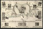 CPA Rose In Einem Herzrahmen, Briefmarkensprache - Timbres (représentations)