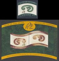 Canada 2001 B54 Mi 1956 ** Year Of The Snake - Chinese New Year / Jahr Der Schlange / Année Du Serpent - Astrologie
