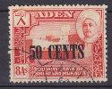 Aden Qu´aiti State In Hadhramaut 1951 Mi. 24      50 C Auf 8 A Sultan Von Shihr Und Mukalla Overprinted New Currency - Aden (1854-1963)