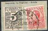 Fragmento 25 Cts Alfonso XIII Y Derecho Entrega, Fechador RONDA (Malaga) Num 495 Y 592 º - Usados