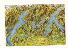 Cp, Carte Géographique, Lago Maggiore, Lago Di Lugano, Lago Di Como, Voyagée - Cartes Géographiques