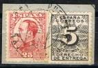 Fragmento 25 Cts Alfonso XIII Y Derecho Entrega, Fechador PONTE De PEDRA (Coruña) Num 495 Y 592 º - 1889-1931 Reino: Alfonso XIII