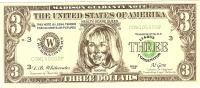 Billet US Humoristique/ Hillary Clinton/ 3 Dollars/Faux Billet/1998           BIL39 - Autres