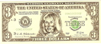 Billet US Humoristique/ Hillary Clinton/ 3 Dollars/Faux Billet/1998           BIL39 - Stati Uniti