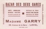 LAVAL 53 ( BAZAR DES DEUX GARES ) MADAME GARY AVENUE DE LA GARE  BUVARD PUBLICITAIRE - Blotters