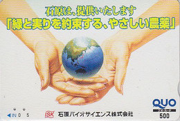 Carte Prépayée Japon - Géographie / Globe Terrestre - Globus Map Japan Prepaid Card Quo Karte - 314 - Espacio