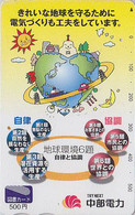 Carte Prépayée Japon - Géographie / Globe Terrestre Soleil Lune Bateau - Globus Map Japan Tosho Card- 328 - Espace