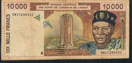 WAS  SENEGAL  P714Kf  10.000 FRANCS   1998 Signature 28 FINE - Sénégal