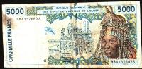 WAS BURKINA FASO P713Kh 5000 FRANCS   1998 Signature 29    FINE - Burkina Faso