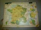 Grande Carte Ancienne  Murale,(recto-verso) Cartonnée  1.00m X 1.20m: La FRANCE En 1789 ; L' EUROPE En 1815 - Geographical Maps