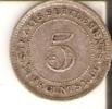 MONEDA DE PLATA DE STRAITS SETTLEMENTS DE 5 CENTS DEL AÑO 1896 (RARA) (COIN) SILVER-ARGENT - Colonias
