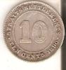 MONEDA DE PLATA DE STRAITS SETTLEMENTS DE 10 CENTS DEL AÑO 1890 (RARA) (COIN) SILVER-ARGENT - Colonias