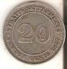 MONEDA DE PLATA DE STRAITS SETTLEMENTS DE 20 CENTS DEL AÑO 1927 (COIN) SILVER-ARGENT - Colonias