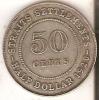 MONEDA DE PLATA DE STRAITS SETTLEMENTS DE 50 CENTS DEL AÑO 1920  (COIN) SILVER-ARGENT - Colonias