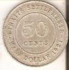MONEDA DE PLATA DE STRAITS SETTLEMENTS DE 50 CENTS DEL AÑO 1921  (COIN) SILVER-ARGENT - Colonias