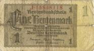 Billete 1 Rentenmark. Alemania Reich 1937 - [ 4] 1933-1945 : Tercer Reich