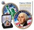 USA - GEORGE WASHINGTON GOLD PLATED & COLORIZED PRESIDENTAL DOLLAR - United States