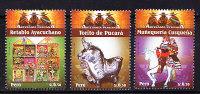 T)PERU 2009, CRAFTS, TORITO DE PUCARA, RETABLO AYACUCHANO, MUÑEQUERIA CUSQUEÑA,SET(3),MNH.- - Peru