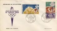 ENVELOPPE PREMIER JOUR FDC COTE D'IVOIRE 1964 # Jeux Olympiques Tokio # - Summer 1964: Tokyo
