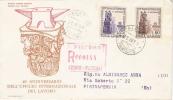 FDC OLIMPIA N°2  Italia 1959 :UFFICIO INTERNAZIONALE DEL LAVORO- Raccomandata Da Palermo Per Enna - F.D.C.