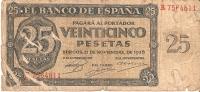 BILLETE DE ESPAÑA DE 25 PTAS DEL 21/11/1936 SERIE R  RC (BANKNOTE) - [ 3] 1936-1975 : Regime Di Franco