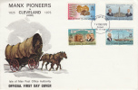 Isle Of Man FDC Scott #62-#65 Manx Pioneers Arrival In Cleveland, Ohio Area - Man (Ile De)