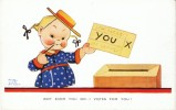 Mabel Lucie Attwell Artisti Signed, Vote Voting Cute Children Humor, C1930s Vintage Postcard - Attwell, M. L.