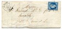 Petits Chiffres 879 /  N° 14 + Cachet 15 LA CLAYETTE (70) Saône Et Loire Sur Lettre Pour Romanèche 1861 - Postmark Collection (Covers)
