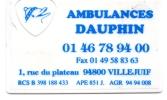 CARTE DE VISITE  AMBULANCES DAUPHIN  Villejuif - Cartoncini Da Visita