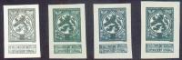 N°110(4) - ESSAIS En Gris, Vert (x2) Et Vert Foncé Au Type Non Adopté Du 5 Centimes PELLENS, Cartouche De La Valeur Sans - Proofs & Reprints