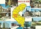 CPSM Des HAUT-DE-SEINE (92) : Carte Du Département + 10 Vues. - Ohne Zuordnung