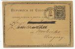 Entero Postal Colombia Cuno De Panama 1896 A Montevideo, Entier 1896 Colombie, Panama - Colombie