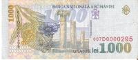 BILLETE DE RUMANIA DE 1000 LEI  DEL AÑO 1998 (BANKNOTE) - Rumania