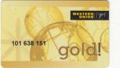 GREECE - Western Union, Gold Magnetic Member Card, Used - Cartes De Crédit (expiration Min. 10 Ans)