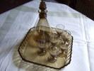 SUPERBE ENSEMBLE DE 6 VERRES CRISTAL AVEC CARAFE (BOUCHON NUMEROTE ) ET PLATEAU CARRE /TRES ANCIEN - Glasses