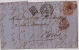 Anvers Vers  Paris Le 2 Septembre 1866.cachet  Anvers +P.D.+timbre30c.brun Cachet à Losange. - 1830-1849 (Belgique Indépendante)